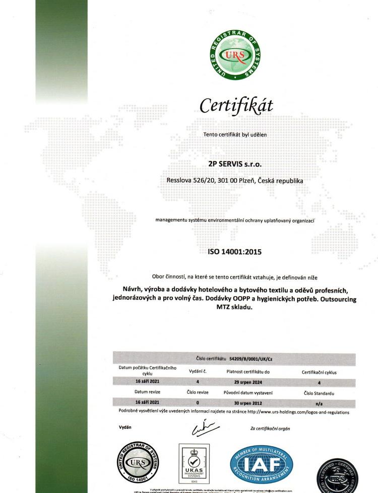 Certifikát ISO 14001 CZ