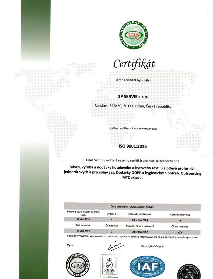 Certifikát ISO 9001 CZ