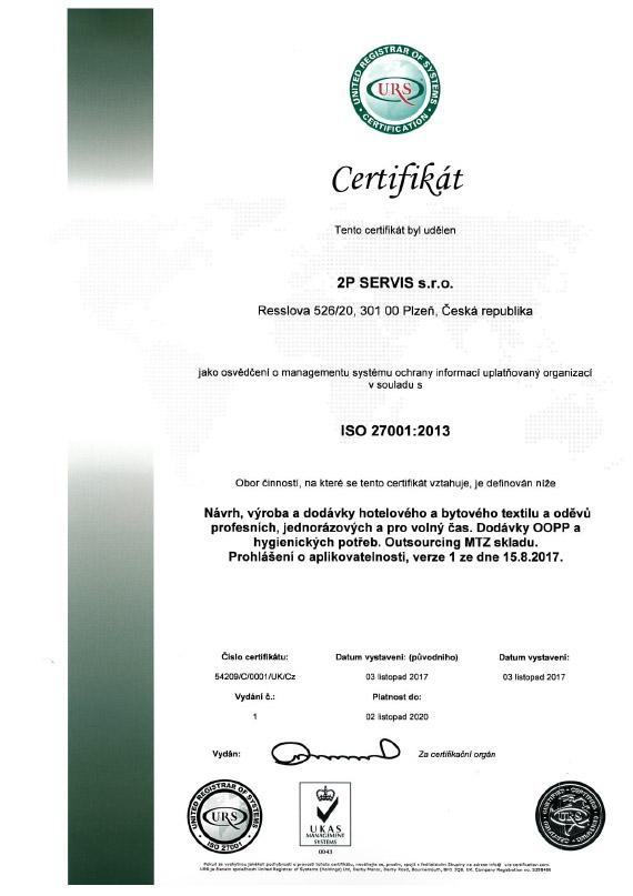 Certifikát ISO 27001 CZ